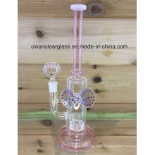 Manufacturer of Pink Glass Water Pipe Smoking Pipe Lady Pipe with Tyre Perc and Bowknot