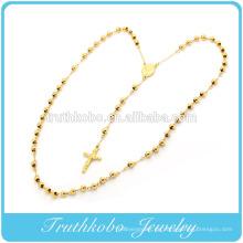 24K Gold überzogene Mode Edelstahl religiöse katholische Rosenkranz Gebet Schmuck Handmade Rosenkranz Perlen Stil Kreuz Neckalce