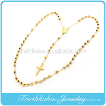 24 K chapado en oro de moda de acero inoxidable religioso católico oración oración joyería hecha a mano cuentas de rosario estilo cruz Neckalce