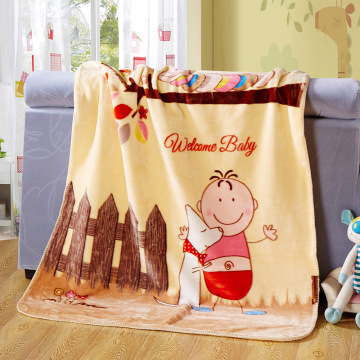 Koraal Velvet Crib Blanket Cartoon Patroon