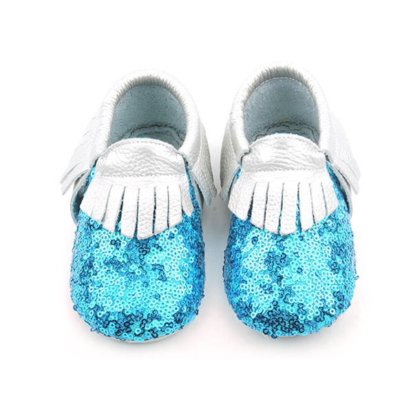 Wholesale Shining Fancy Sequins Leather Baby Moccasins