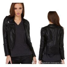 2015 Fashion Women Front Zippered PU Biker Jacket