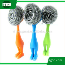 Plastic Handle Scourer Pot Brush Plastic handle cleaning Pot brush Human Shape Plastic Pot Brush With Stainless Steel Ball