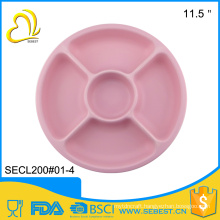 "best selling 11.5"" round dinner plastic 5-section melamine plates used in restaurant"