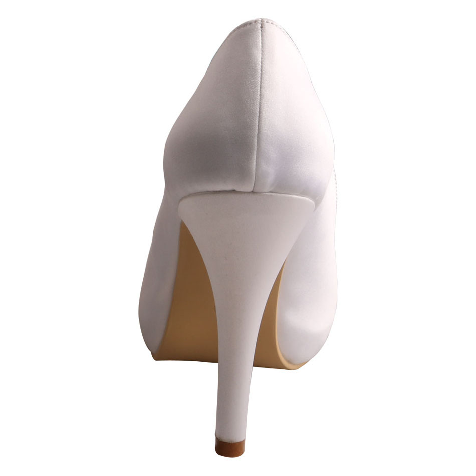Peep Toe White Satin Shoes