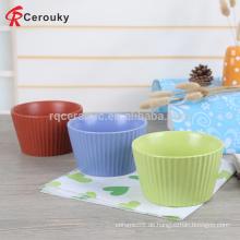 Kundenspezifisch bedruckt 4,5 Zoll Streifen Porzellan Keramik Kinder Nudel Schüssel