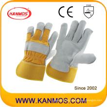 Amarillo lleno de la palma de seguridad industrial cuero de vaca dividido guantes de trabajo (110091)