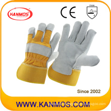 Yellow Full Palm Industrial Safety Cowhide Split Leather Work Gloves (110091)