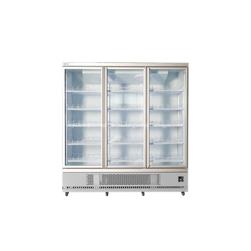 Refrigerador vertical comercial de tres puertas de vidrio