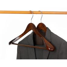 KINDOME vintage color extra wide shoulder wooden clothing hanger with anti slip trouser bar