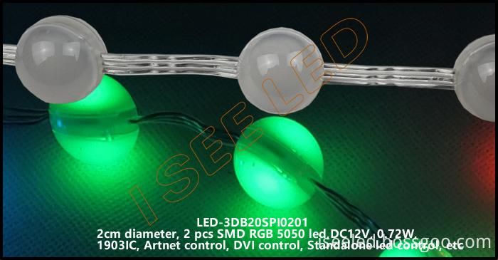 2cm 3D led ball rgb SPI1903 2 led 3D led bead light 02