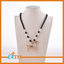 Latest Design Running Horse Rhinestone Pendant Necklaces