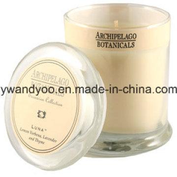 Vela perfumada de soja de luxo em vidro com tampa