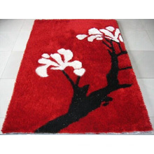 Shaggy Carpet Rose Shape Red Silk Carpet, Mat, Rug, Door