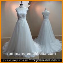 2016 New style Beautiful Lace Wedding Dress Portrait Open Back Sweep Train Ivory 2014 últimos vestidos de noiva de casamento