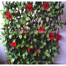 2014 Nouveau jardin clôture artificielle feuille artificielle avec rose rouge