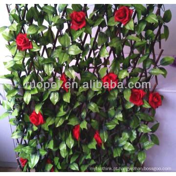 2014 Novo jardim decorativo cerca de folha artificial com rosa vermelha