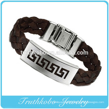 High quality christmas cheap custom silicone bracelets stainless steel jewelry thick brown PU leather moon and star bangle