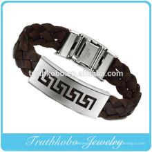 Alta qualidade de natal barato personalizado pulseiras de silicone jóias de aço inoxidável de espessura marrom couro PU lua e estrela pulseira