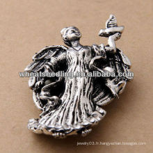 2014 New Style Antic Silver Jewelry Fairy avec broche oiseau BH34