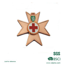Zinc Alloy Soft Enamel Cross Logo Copper Plated Medal