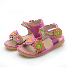 Hot Pink Corlorful Flowers Baby Squeaky Sandals