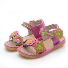 Hot Pink Corlorful Flowers Sandálias Squeaky bebê
