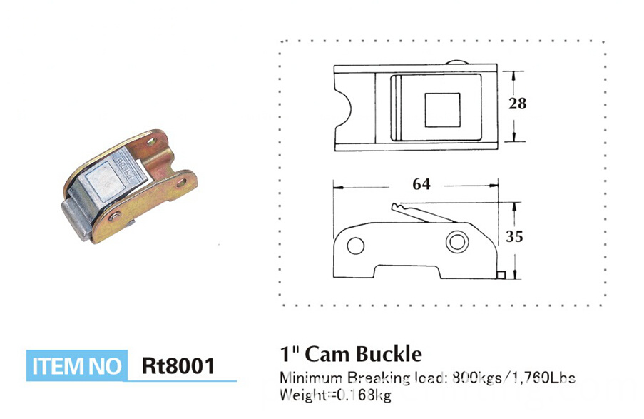 CB8008 Cam Buckle Size