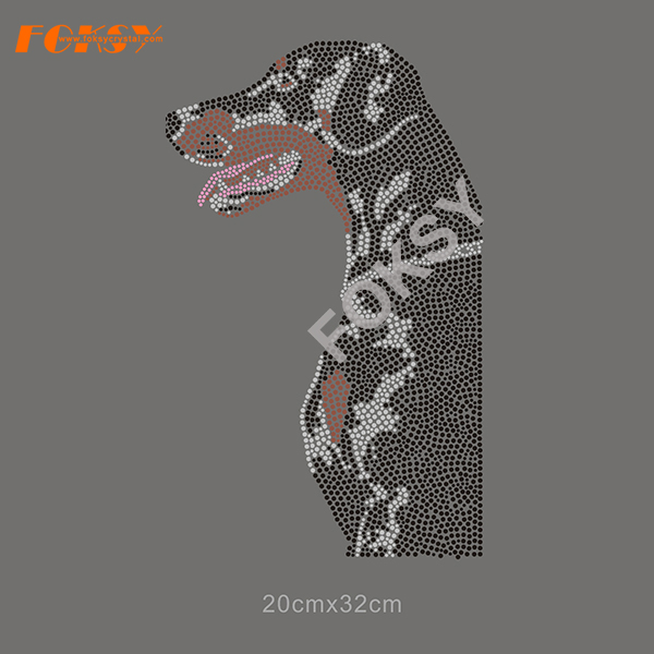 Cool Dog Iron On Rhinestone Transfer voor overhemd