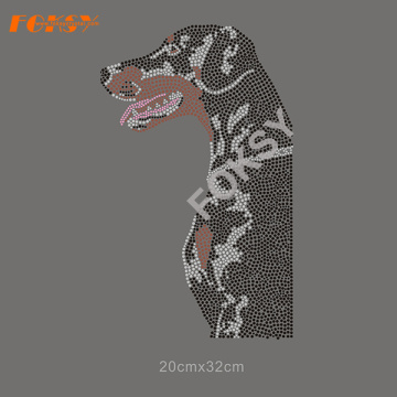 Hot Fix Dog Rhinestone Transfer para T-shirts
