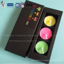 Três peças cor chama vela Tealight em caixa de papel