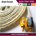 High quality 15ft OFC Triple Shielded Spiral Twist RCA Car Audio Cable