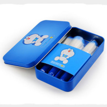 7PCS Cosmetic Brush Set with Cute Blue Doraemon Metal Case Box