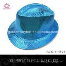 Blue Sequin Fedora Hat F1194-C satin shine bleu chapeaux de fête chapeaux de fantaisie pour le commerce de gros