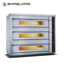 Commercial Stainless Steel Deck Oven With Steam 12-Tray 3 Deck Bakery Oven