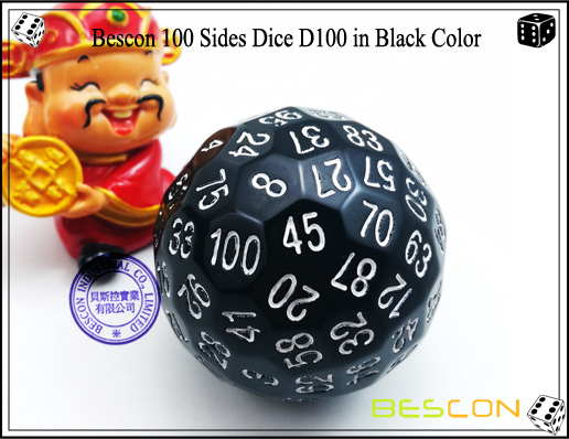 Bescon 100 Sides Dice D100 in Black Color-1