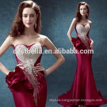La alta calidad al por mayor 2016 de las señoras del diseño nueva rebordeó el vestido de noche largo rojo de la sirena