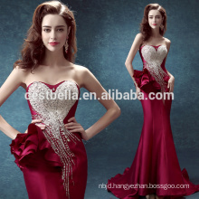 Wholesale 2016 new design ladies high quality beaded red long mermaid evening dress