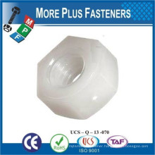 Made in Taiwan Metric Black or White Nylon Plastic Hexagon Nut