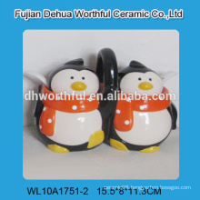 2015 new arrival ceramic double seasoning pots in penguin shape