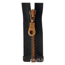 Golden-brass Zipper with Fabric Tape in Various Colors, Open Ended, Decorated Slider, Golden Teeth