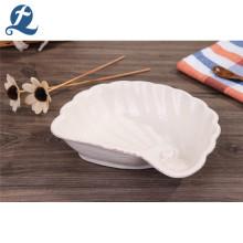 Plato de sopa de cerámica con forma de vieira de alta calidad