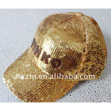 Golden Baseball Cap With Sequins Embroidery in Fashion