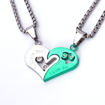 Kleurrijke Stainless Steel Couple Lovers Fashion Heart Pendant