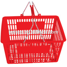 Best selling supermarket cheap plastic carry basket with two metal handles