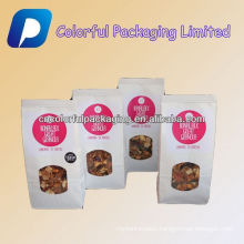 Customized white paper doypack side gusset packaging bag with window display for nut