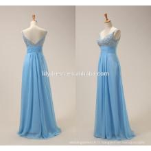 Light Blue Sexy Chiffon Beading Custom Made Designs Longueur de plancher Long Evening Party Wear ED057 robes de soirée de soirée de dames