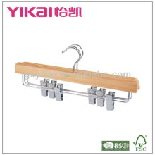 natural color wooden skirt hanger with metal clips