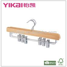 Cabide de saia de madeira cor natural com clipes de metal