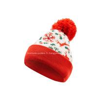 Bonnet à pompon de Noël en tricot jacquard fille garçon